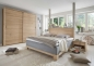Preview: Tjer Boxspring Bett 180 x 200 cm Eiche Bianco Holz Kopfteil